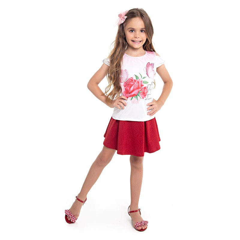 Conjunto Infantil Menina Flor Bege
