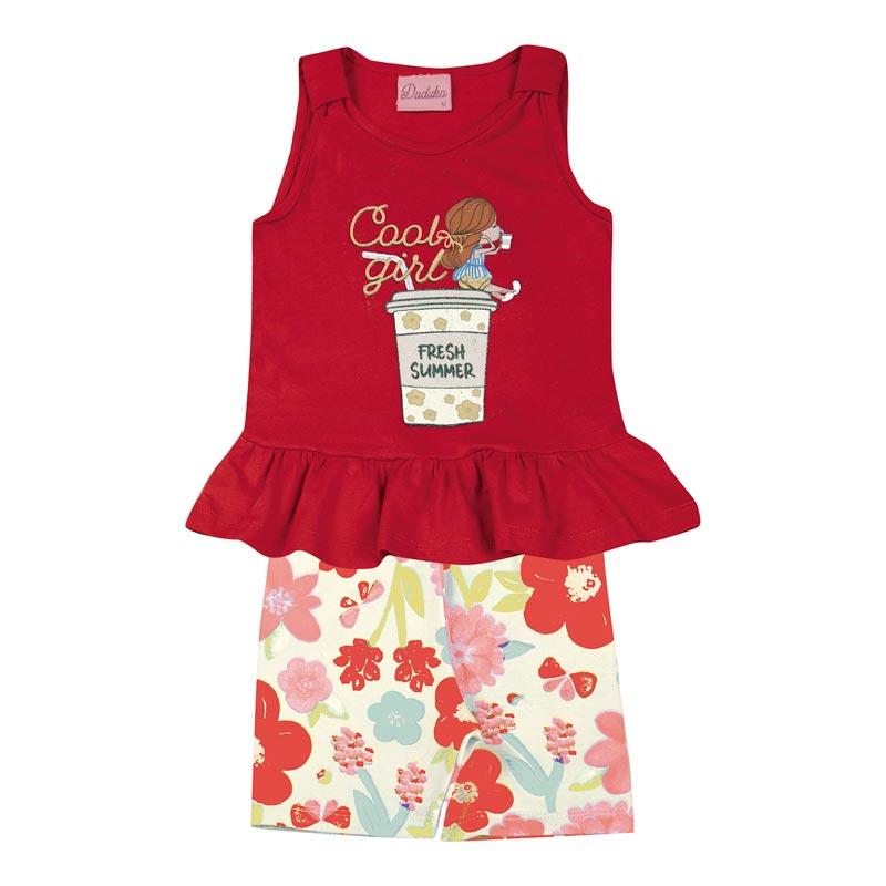 Conjunto Infantil Menina Flor Vermelho