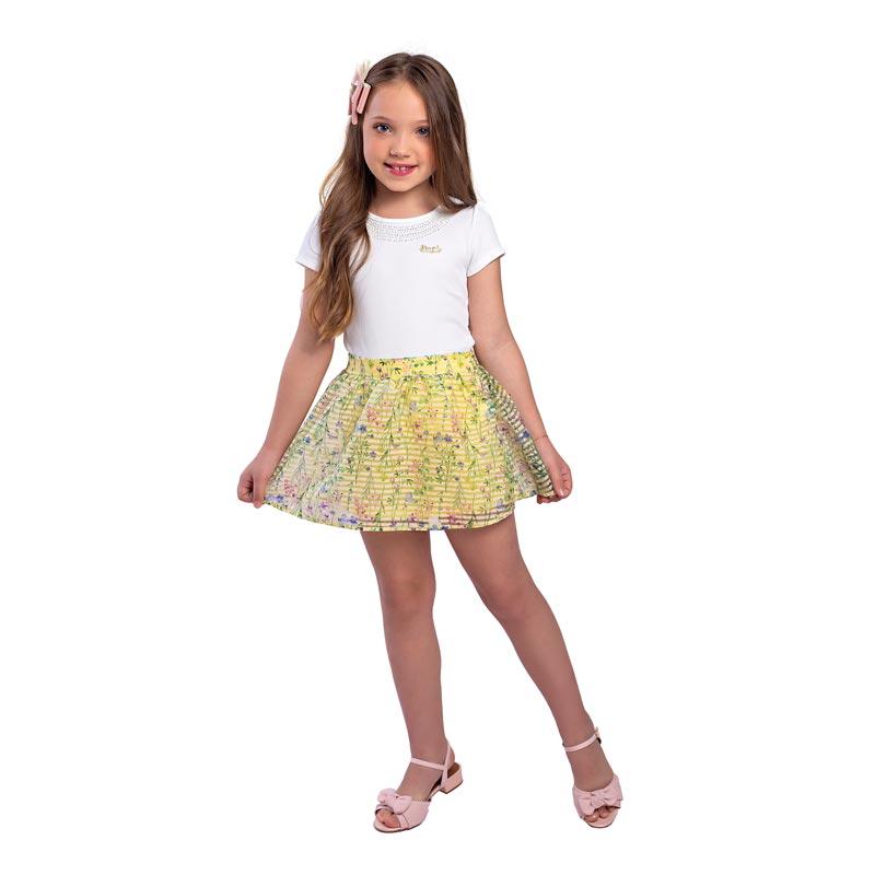 Conjunto Infantil Menina Flores Branco
