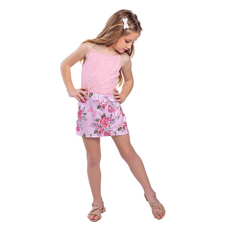 Conjunto Infantil Menina Flores Rosa