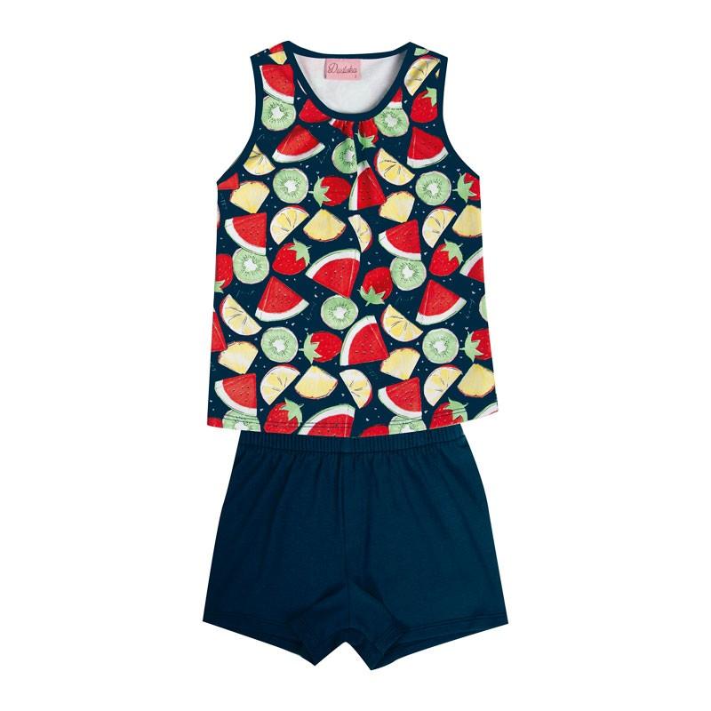 Conjunto Infantil Menina Frutas Azul