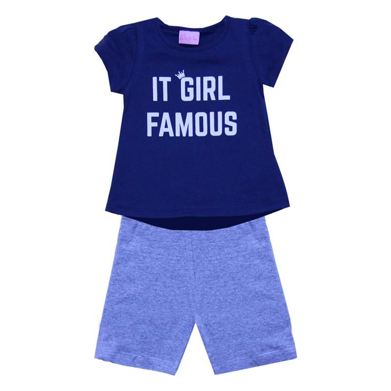 Conjunto Infantil Menina Girl Azul
