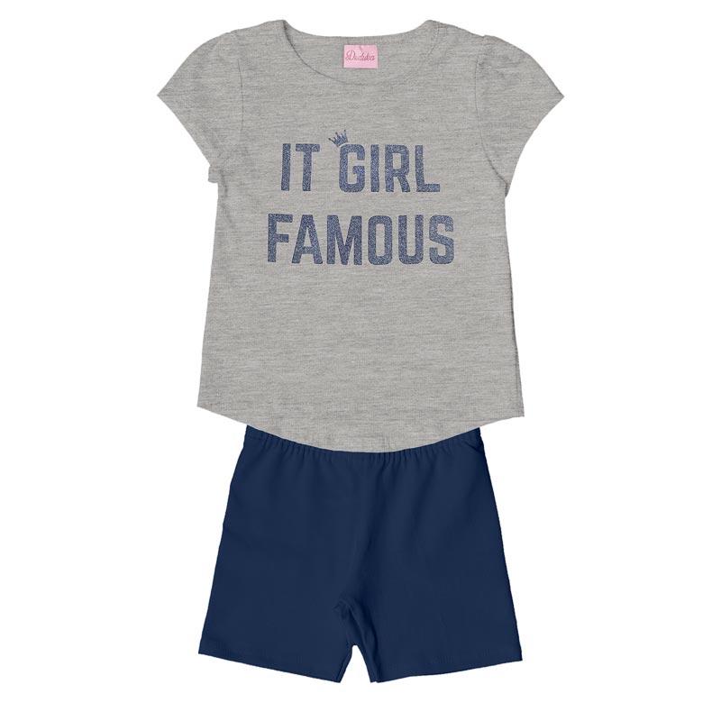 Conjunto Infantil Menina Girl Cinza