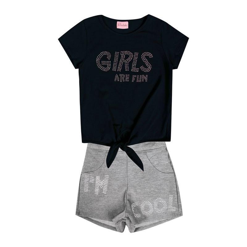 Conjunto Infantil Menina Girls Are Fun Preto