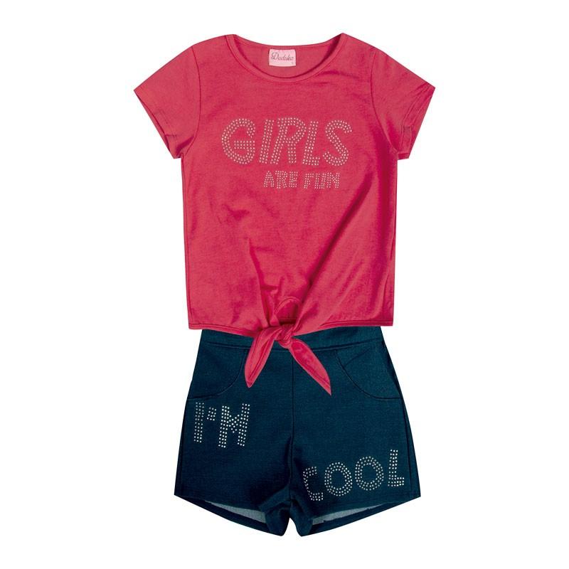 Conjunto Infantil Menina Girls Are Fun Rosa