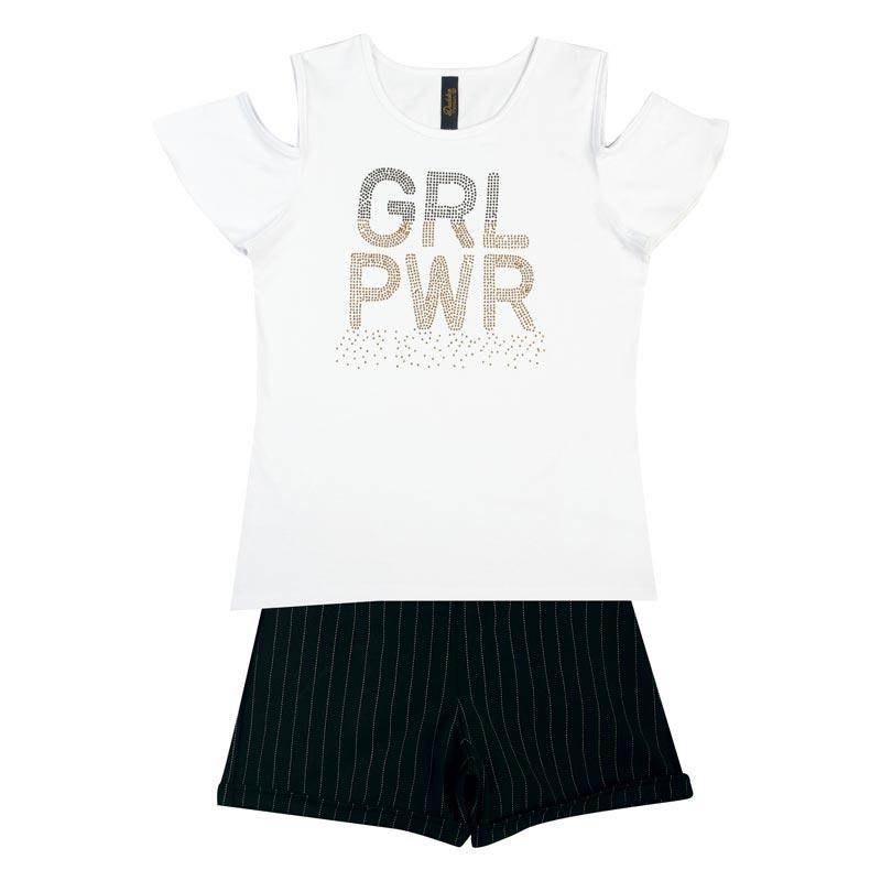Conjunto Infantil Menina GRL PWR Branco