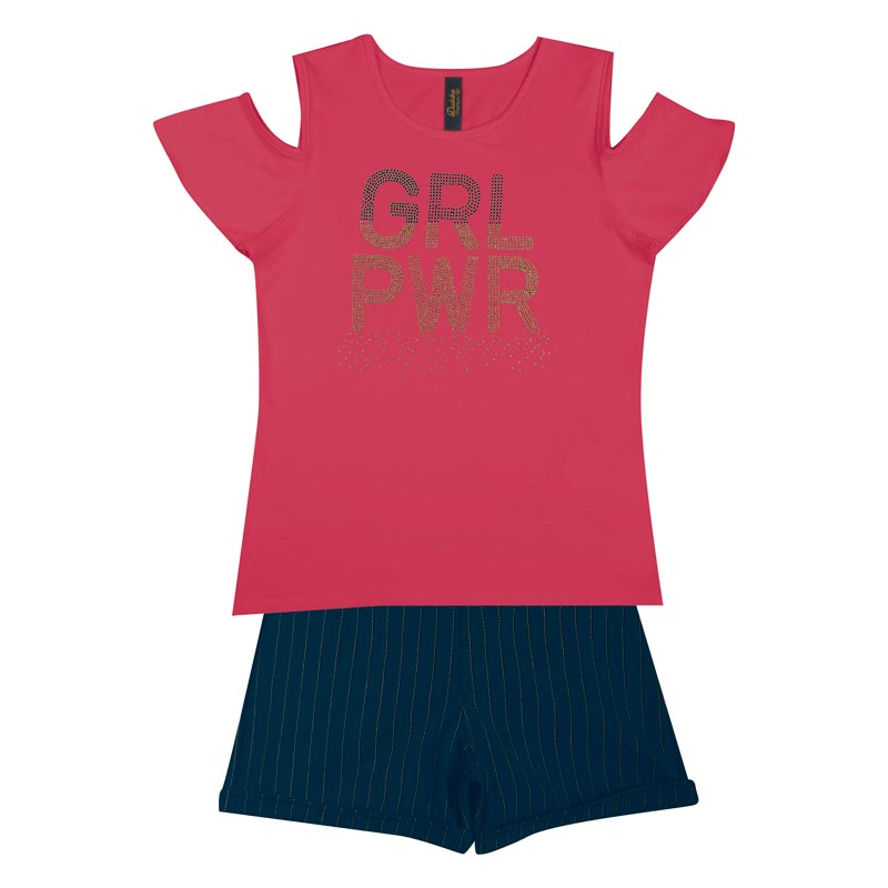 Conjunto Duduka Infantil Menina GRL PWR Rosa