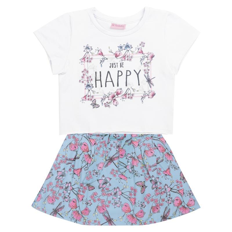 Conjunto Duduka Infantil Menina Happy Branco