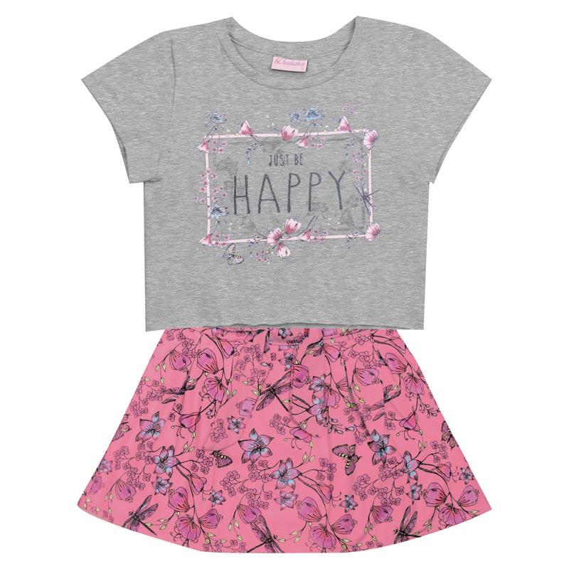 Conjunto Infantil Menina Happy Cinza