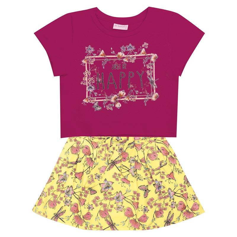 Conjunto Duduka Infantil Menina Happy Rosa