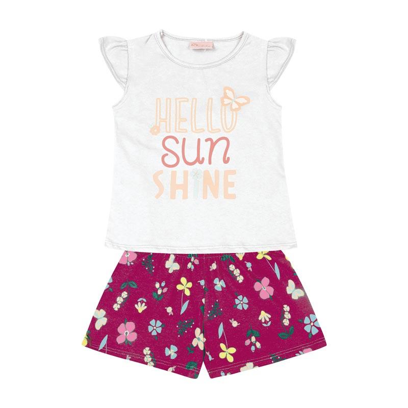 Conjunto Infantil Menina Hello Sun Shine Branco