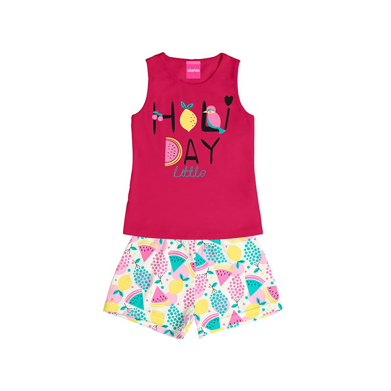 Conjunto Infantil Menina Holi Day Rosa