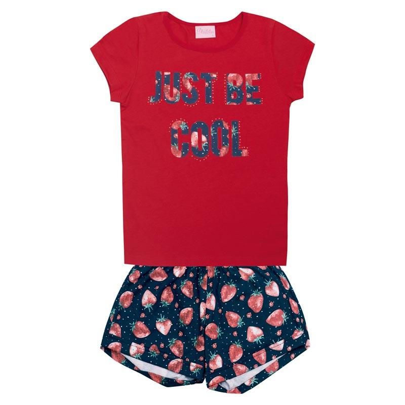 Conjunto Duduka Infantil Menina Just Be Cool Vermelho