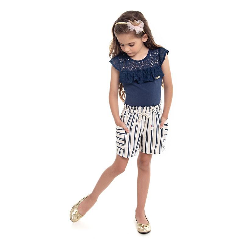Conjunto Paytê Infantil Menina Listrado Azul