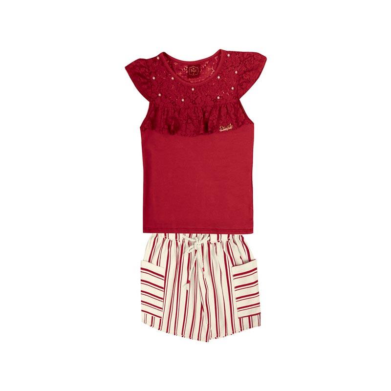Conjunto Infantil Menina Listrado Vermelho