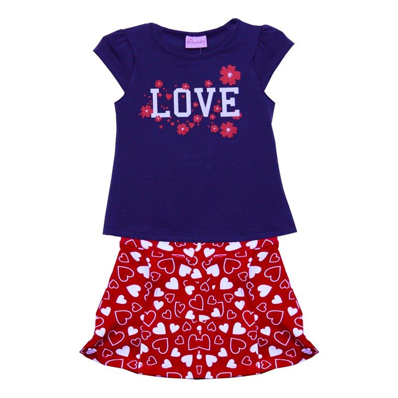 Conjunto Infantil Menina Love Azul