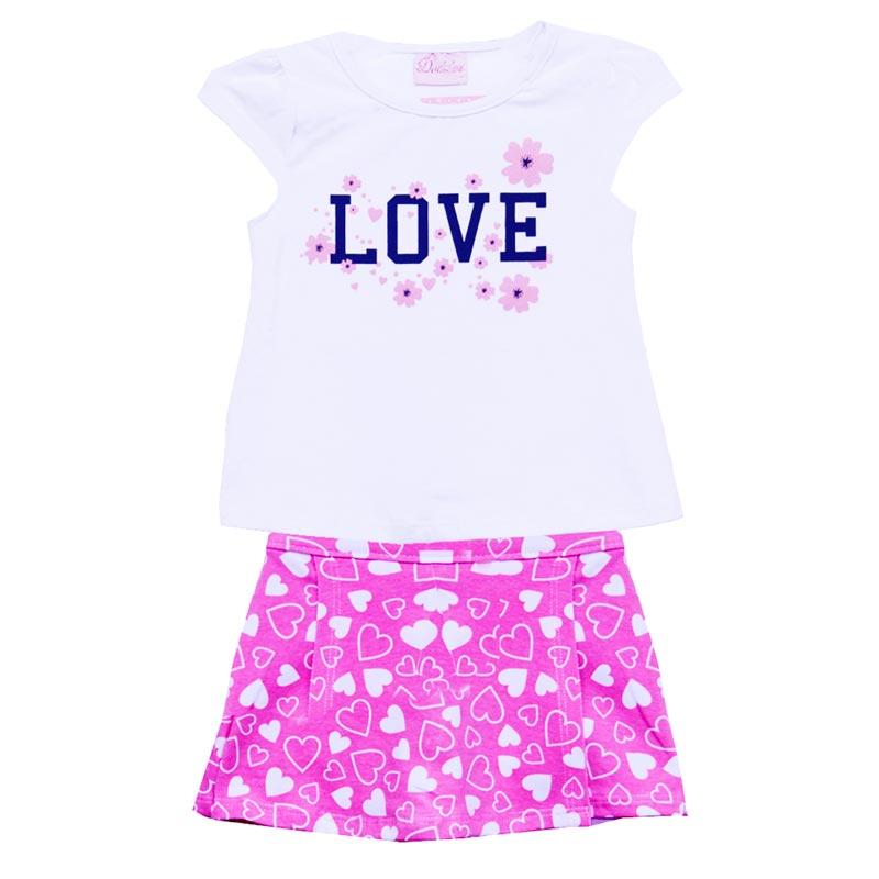 Conjunto Infantil Menina Love Branco