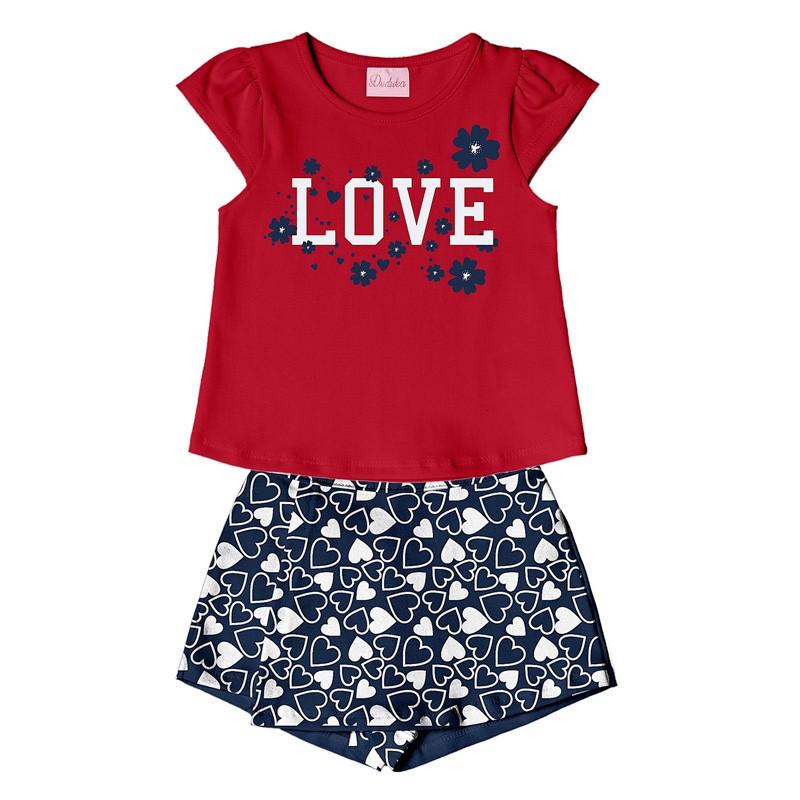 Conjunto Infantil Menina Love Vermelho