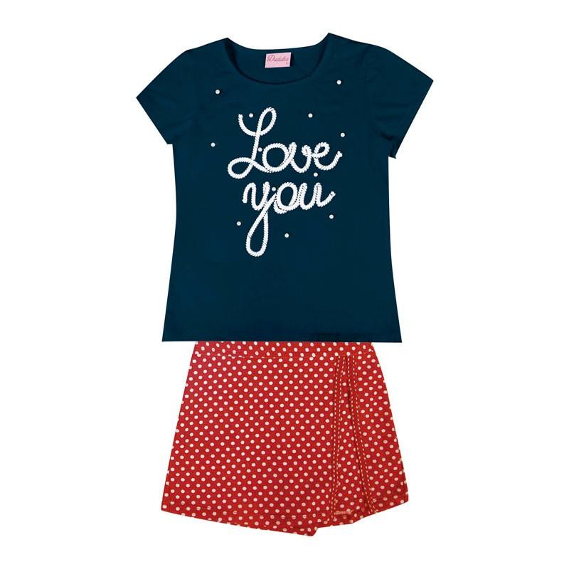 Conjunto Duduka Infantil Menina Love You Azul