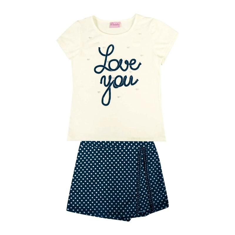 Conjunto Duduka Infantil Menina Love You Bege