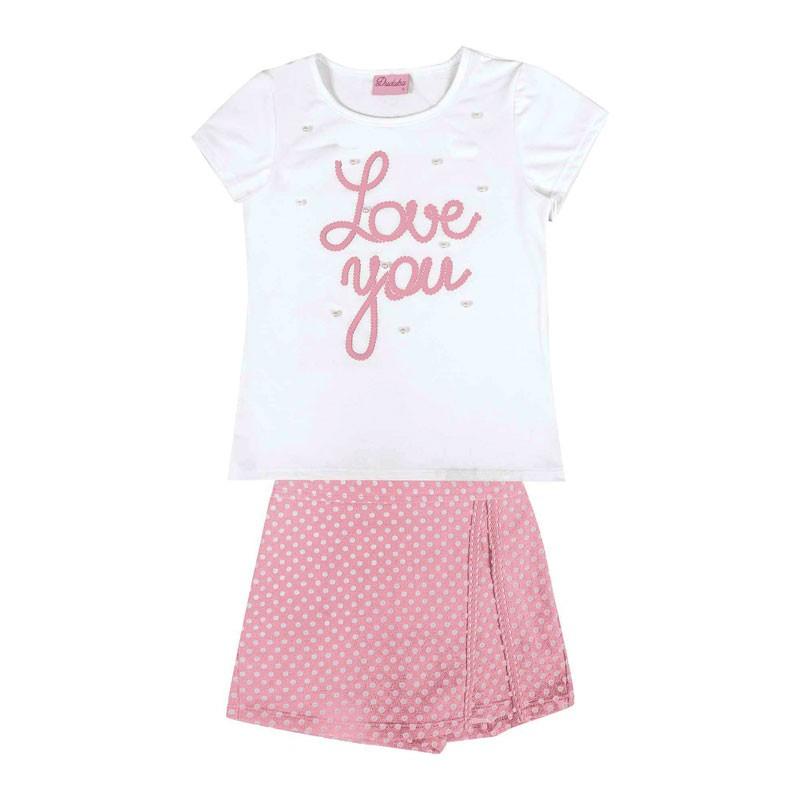 Conjunto Duduka Infantil Menina Love You Branco