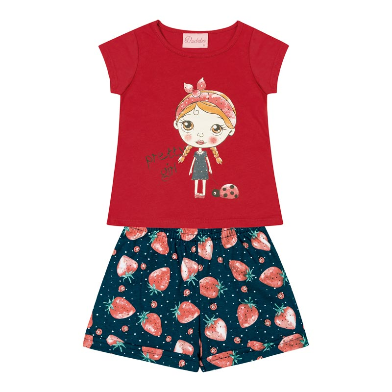 Conjunto Infantil Menina Pretty Girl Vermelho