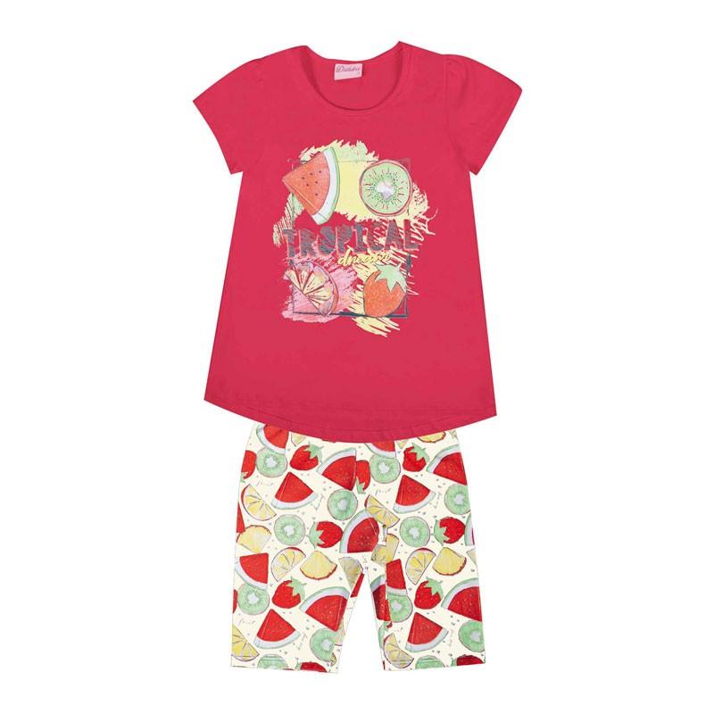 Conjunto Duduka Infantil Menina Tropical Rosa