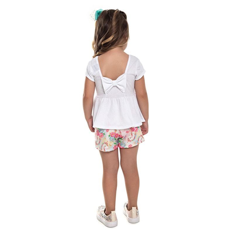Conjunto Paytê Infantil Menina Unicórnio Branco