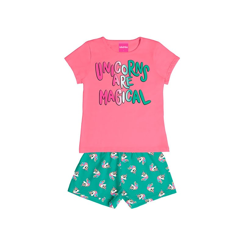 Conjunto Infantil Menina Unicorns Rosa
