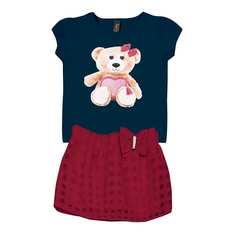 Conjunto  Infantil Menina Urso Azul