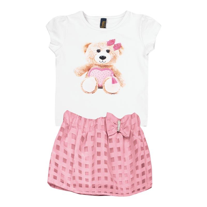 Conjunto  Infantil Menina Urso Branco
