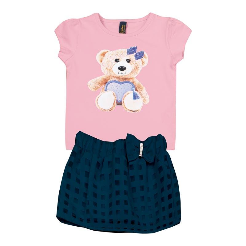Conjunto  Infantil Menina Urso Rosa