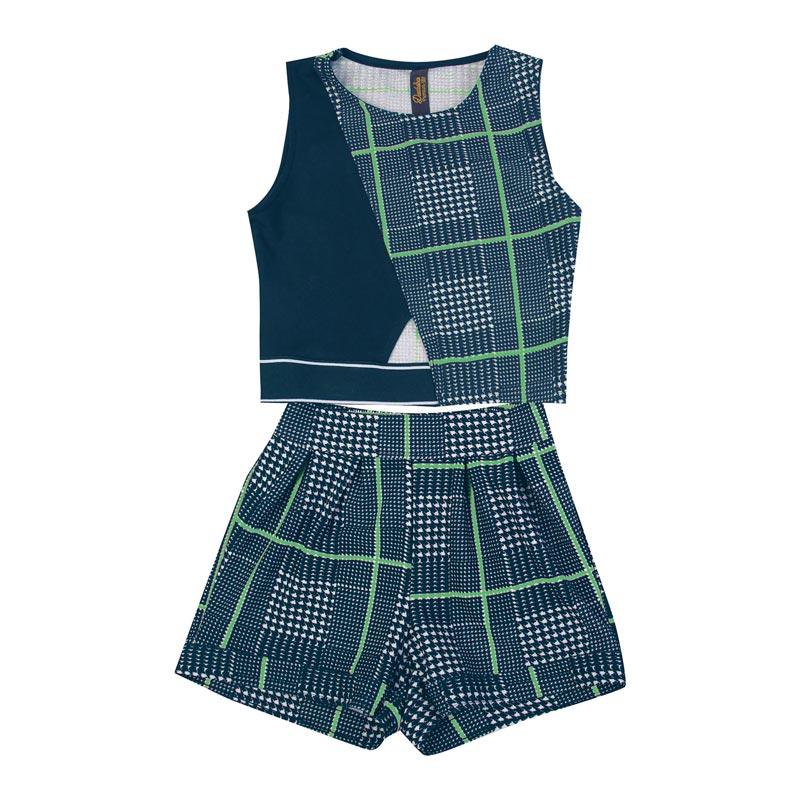 Conjunto Infantil Menina Xadrez Azul
