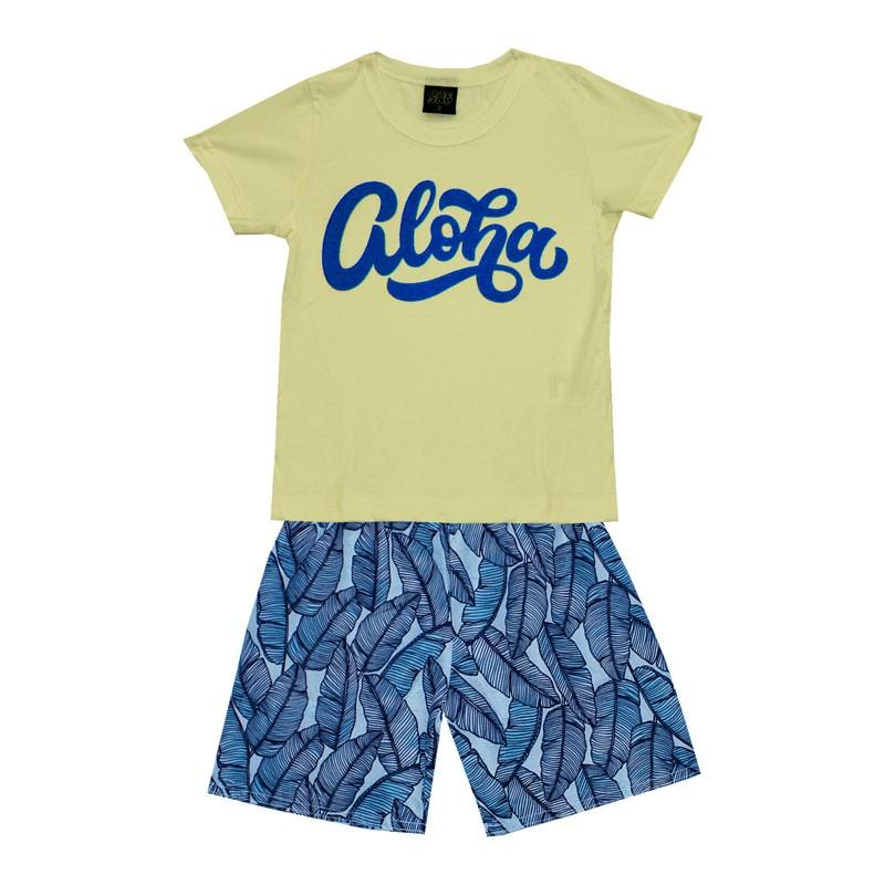 Conjunto Infantil Menino Aloha Amarelo