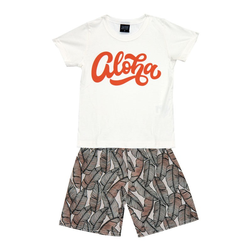 Conjunto Infantil Menino Aloha Bege