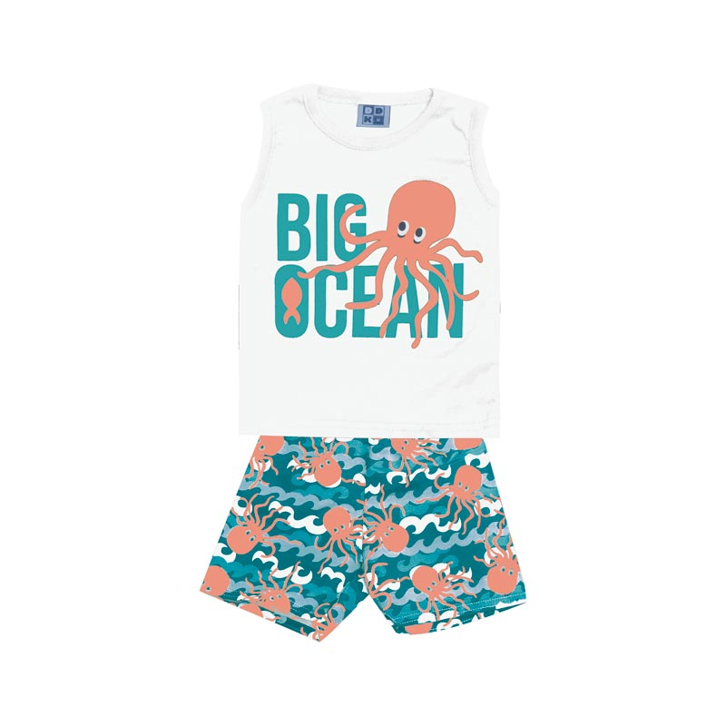 Conjunto Infantil Menino Big Ocean Branco