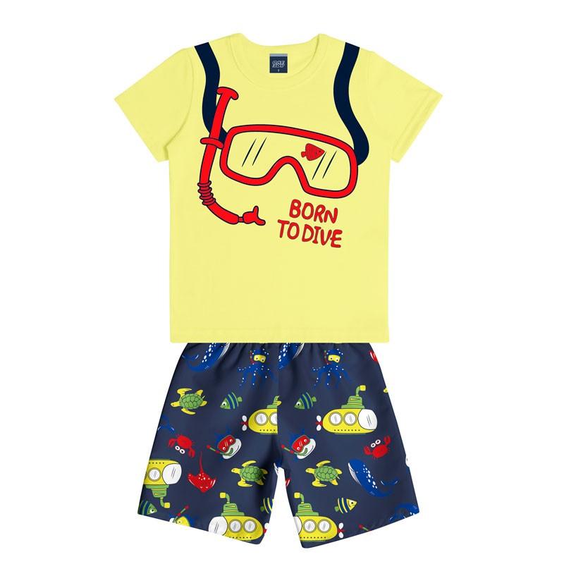 Conjunto Infantil Menino Born To Dive Amarelo