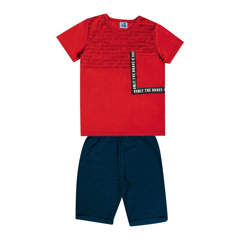 Conjunto Infantil Menino com Bolso Vermelho