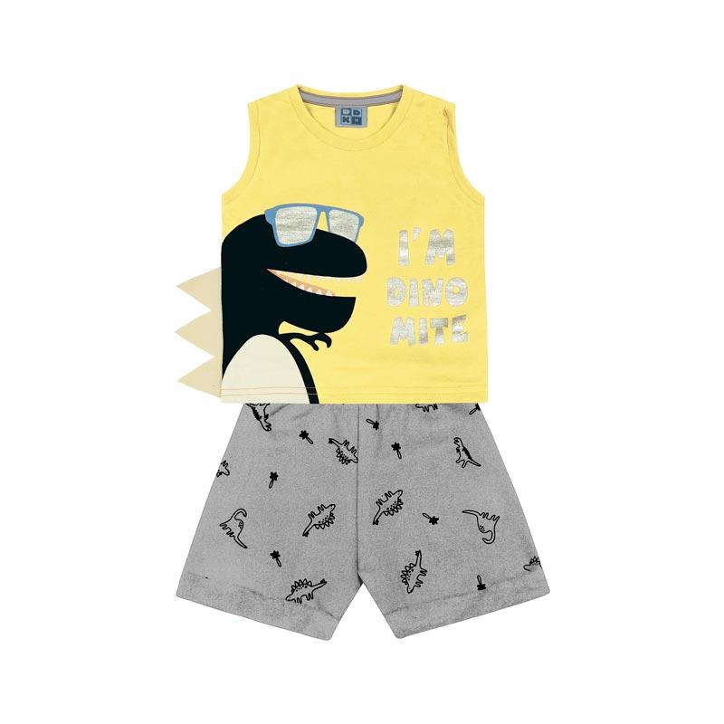 Conjunto Infantil Menino Dino Amarelo