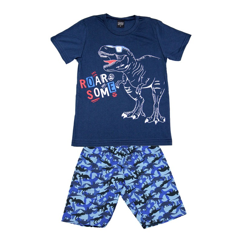 Conjunto Infantil Menino Dinossauro Azul