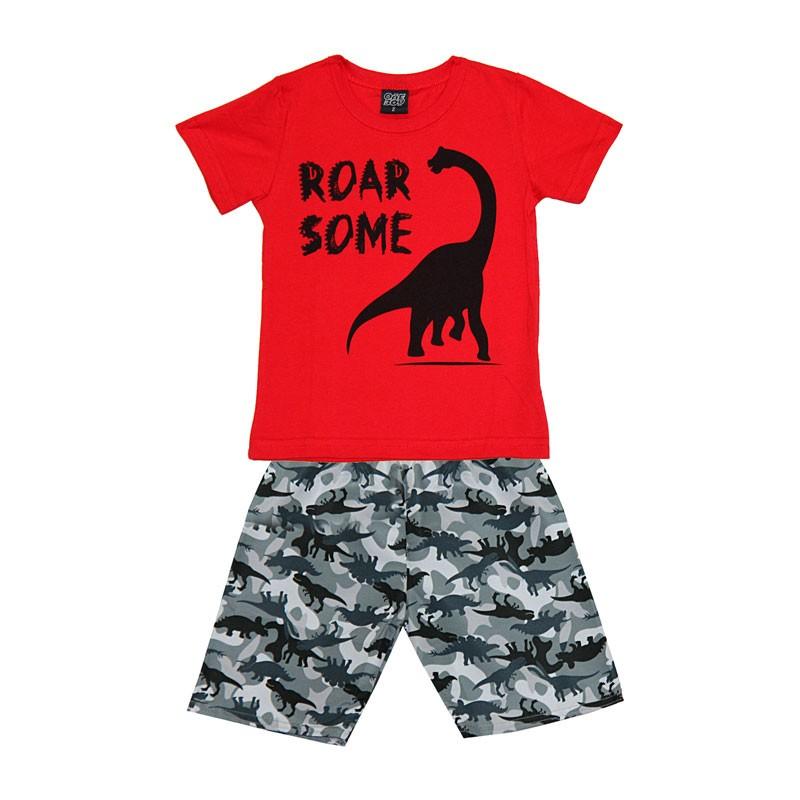 Conjunto Infantil Menino Dinossauro Vermelho