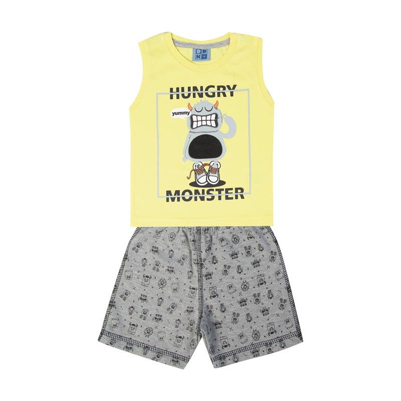 Conjunto Infantil Menino Monster Amarelo