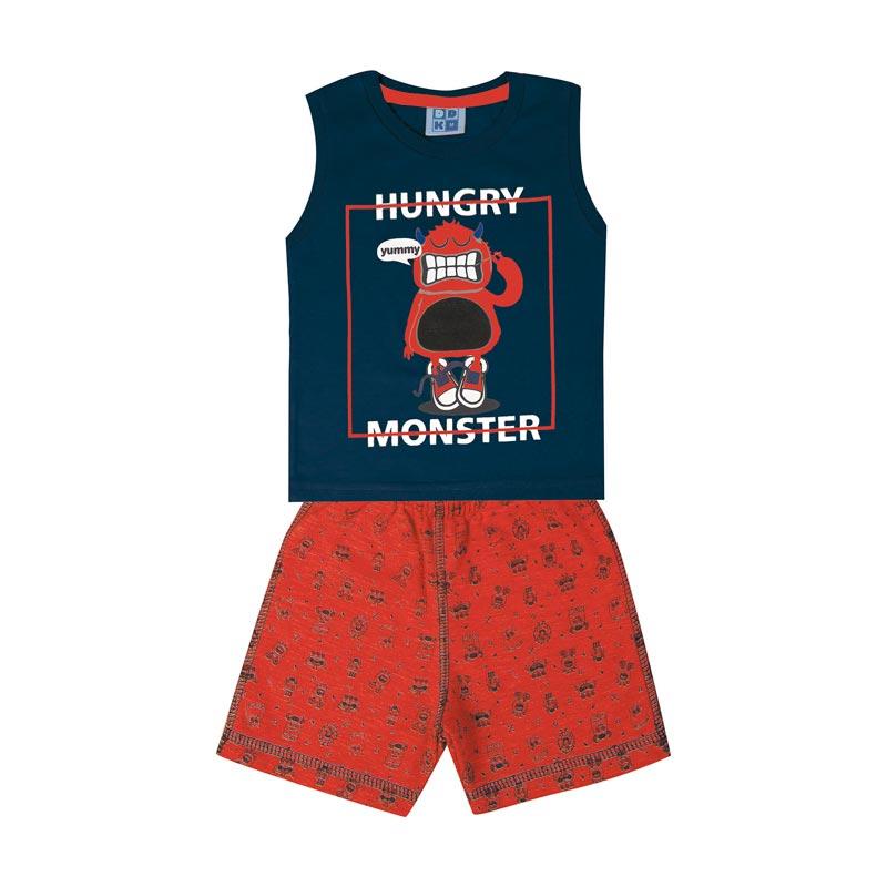Conjunto Infantil Menino Monster Azul
