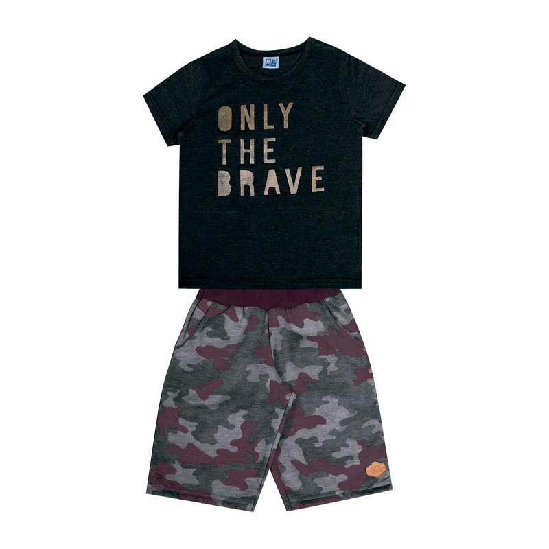 Conjunto Infantil Menino Only The Brave Preto