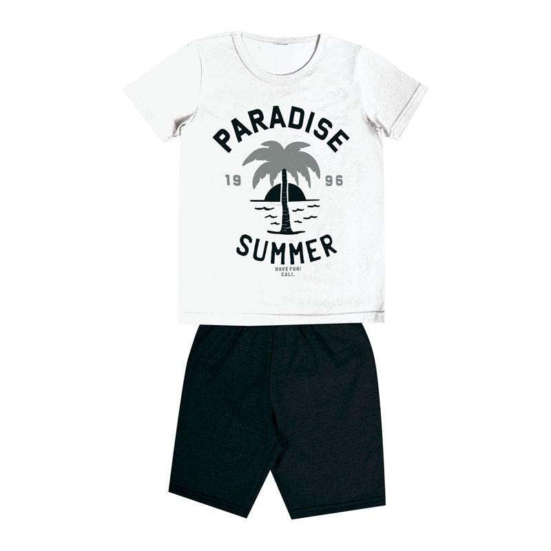 Conjunto DDK Infantil Menino Paradise Summer Branco