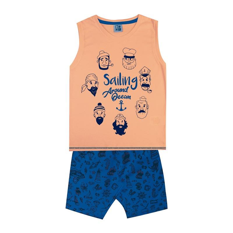 Conjunto DDK Infantil Menino Sailing Laranja