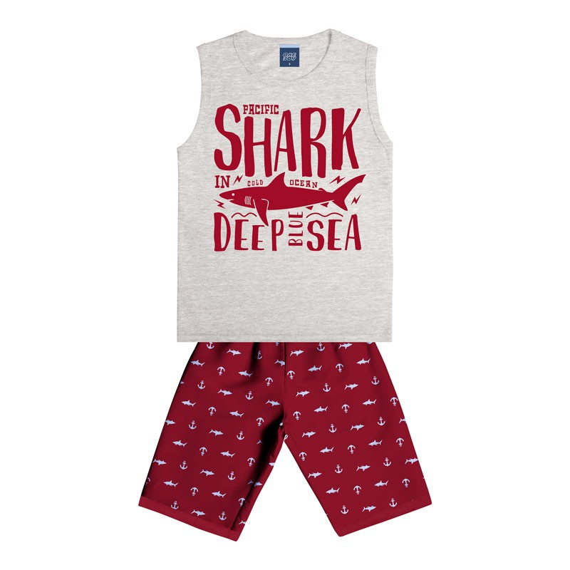 Conjunto Infantil Menino Shark Cinza