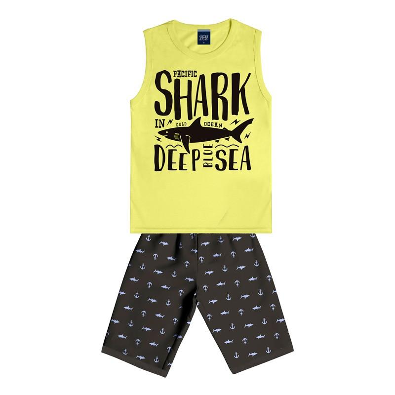 Conjunto Infantil Menino Shark Amarelo