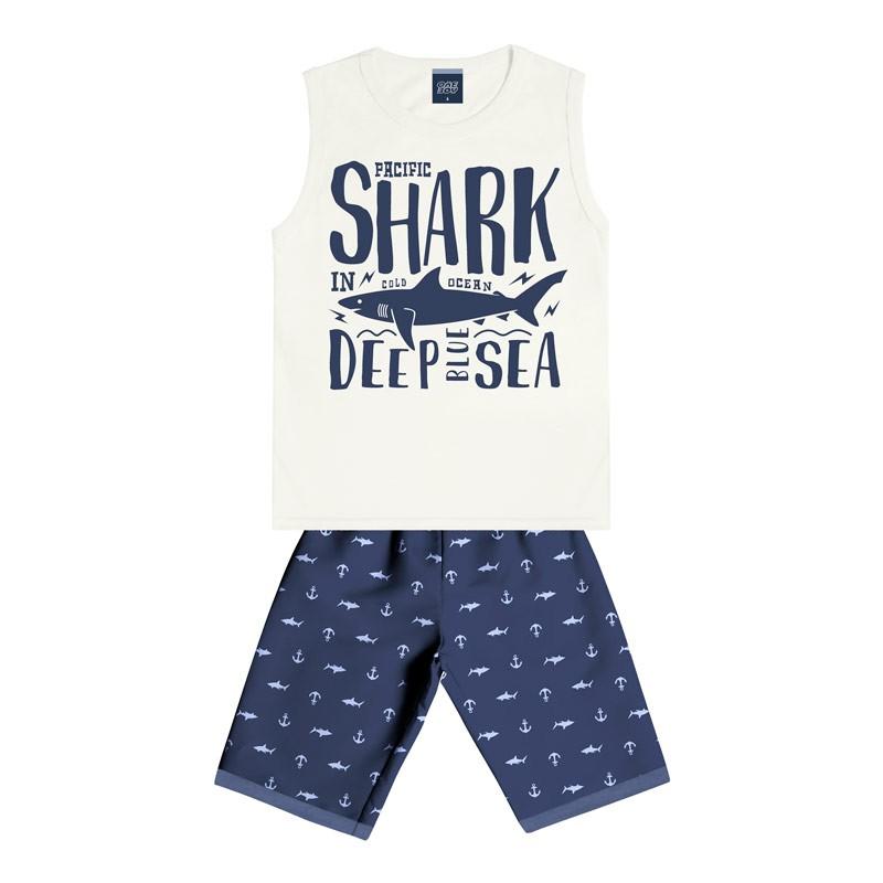 Conjunto Infantil Menino Shark Bege