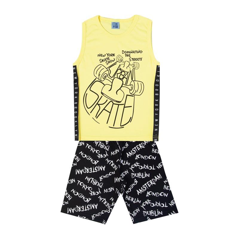 Conjunto Infantil Menino Skate Amarelo